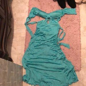 Dresses & Skirts - sexy dress aqua 2 cut out sides back